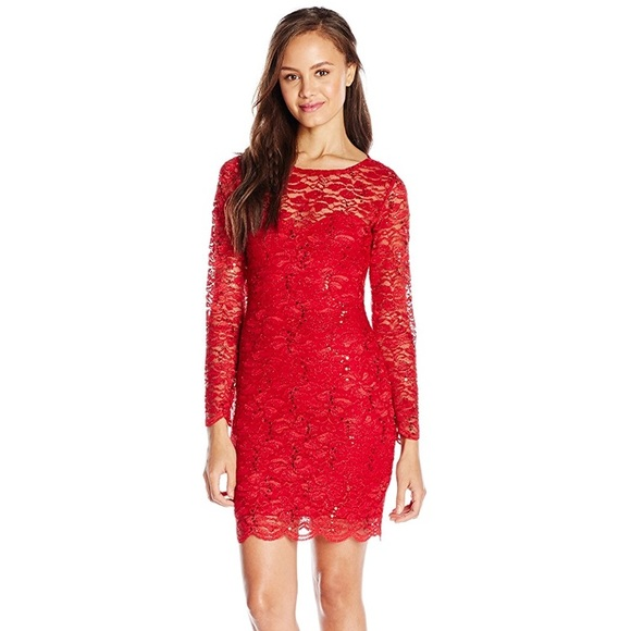 Red Glitter Lace Bodycon Dress Nwt